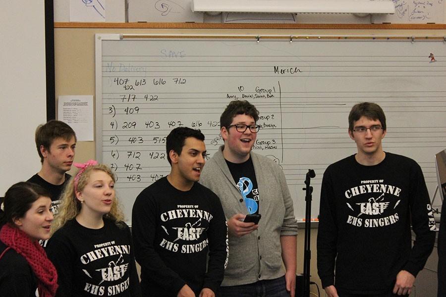 EHS Singers (left to right) Beth Good, Avery Overstreet, Rachel Marston, Daniel Singh, Austin Guritza, and Simeon Cooper serenede a fellow choir student during a choir class.