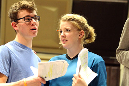 Kate Backman and Parker Whitlock rehearse a scene as Daisy Buchanan and Jay Gatsby for the Drama department's production of The Great Gatsby.