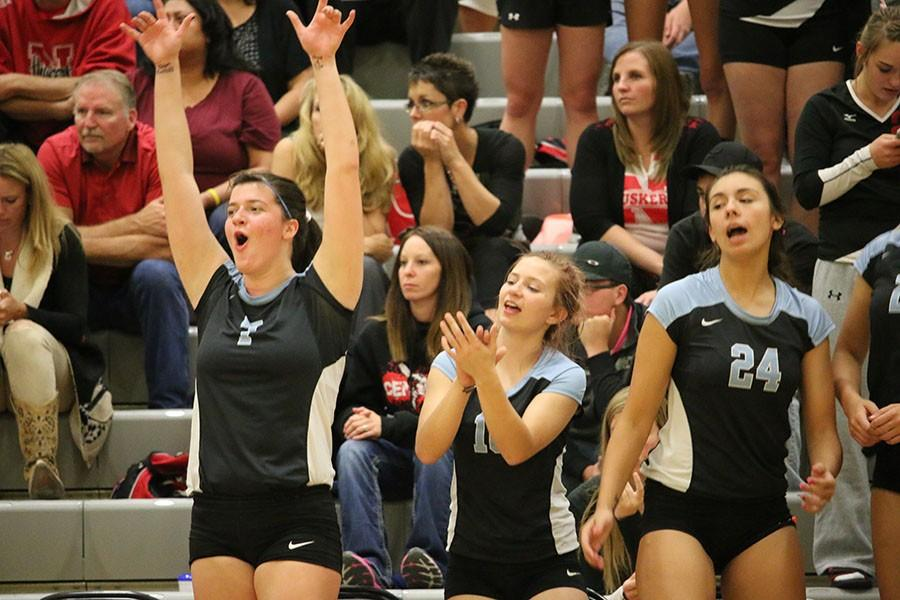 Cosette Stellern (far left) celebrates with her teammates as the Lady T-Birds rolled to another victory.
