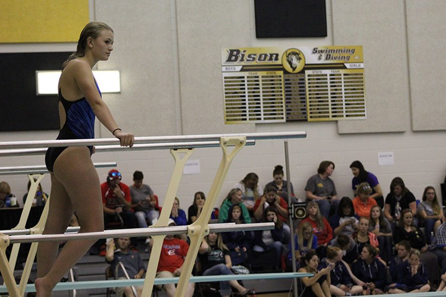Briley Phipps preparing for her next dive at the South invite on September 10th.