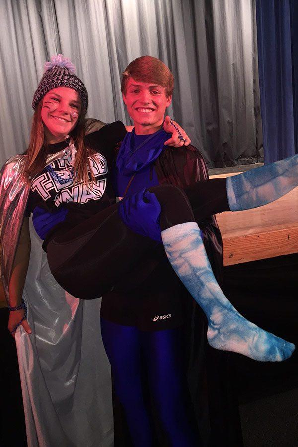 This year's Mr. T-Bird Jarom Brown sweeps Ms. T-Bird Samantha Jurkowski off her feet.
