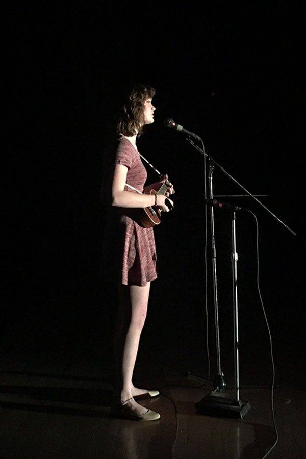 Junior Kenzie Merritt sings her original song