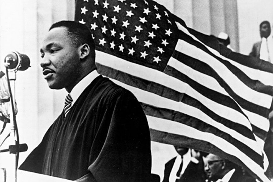 Martin Luther King Jr. giving his famous