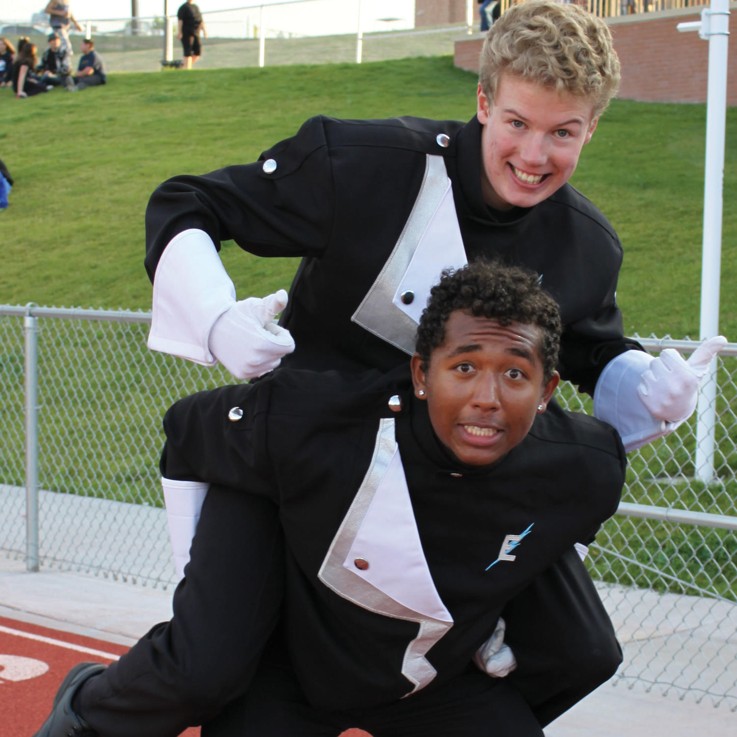 Drum majors Darien Suter (bottom) and Zamboni (top)