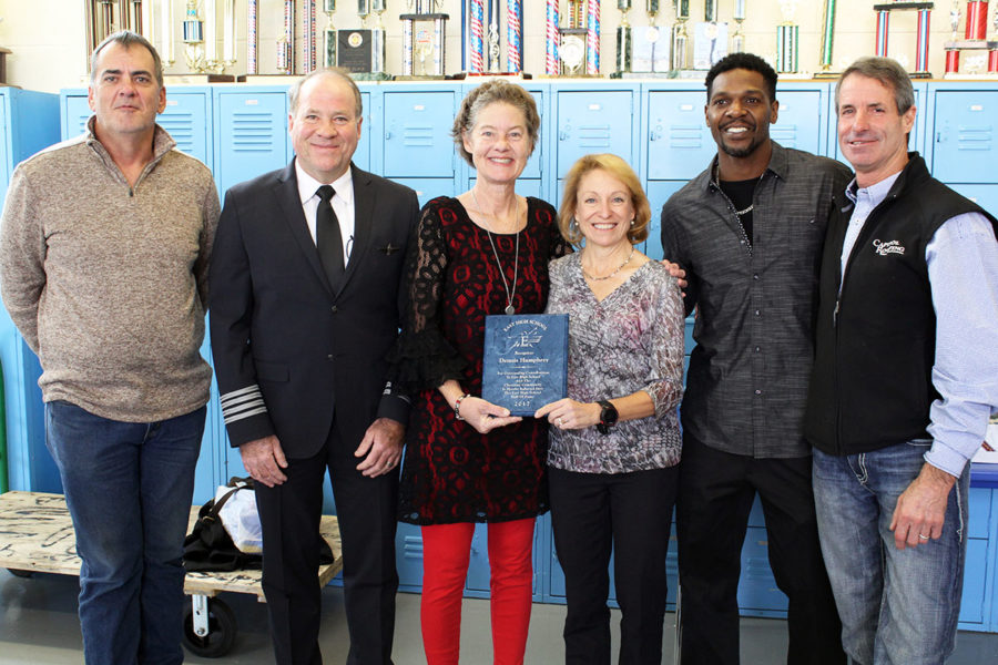 Newly inducted EHS Hall of Fame members John O'Connor, Jim Mize, Michelle Stotts, Dr. Sue Chilton, Lee Vaughn and Dennis Humphrey (l to r) were recognized at a ceremony at the school on October 27.