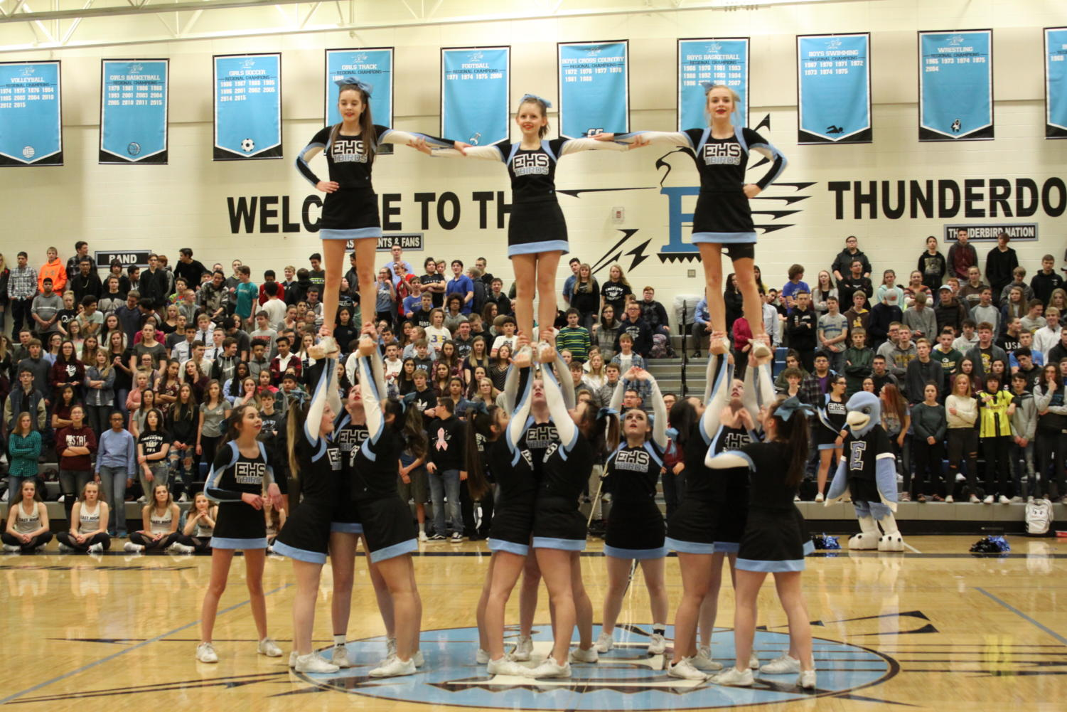 The East High Varsity cheer team puts on a show for the February pep rally.