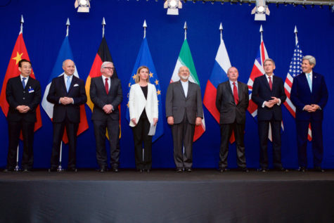 From left to right-  China, France, The EU, Iran, Russia, UK and United States