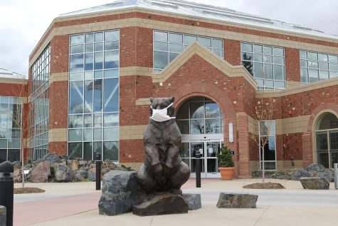 Ursus, the bear scuplture outside the Cheyenne Botanical Gardens, sports a mask to help remind folks to cover up for safety.
