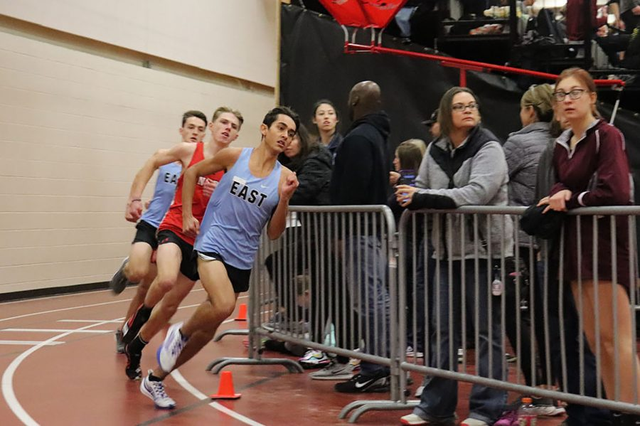 Junior Cactus Rogers leads the pack at an indoor track meet at Central High School.